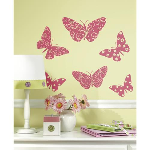 Flocked Butterfly Peel and Stick Wall Decals