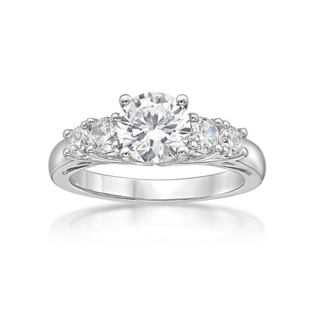 Sterling Silver 5 Stones Round Simulated Diamond Ring