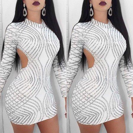 Womens Sequins Cocktail Bodycon Sheath Mini Dress Party Glitter Clubwear Dress(S, M, L , XL)