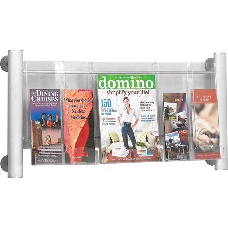 Safco, SAF4133SL, Elegant Luxe Magazine Wall Rack, 1 / Each, Silver Frame,Pocket ()