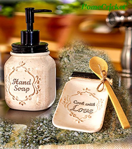 Antique Country Mason Jar Kitchen Soap Dispenser U0026amp;amp; Ceramic Spoon  Rest With Bamboo