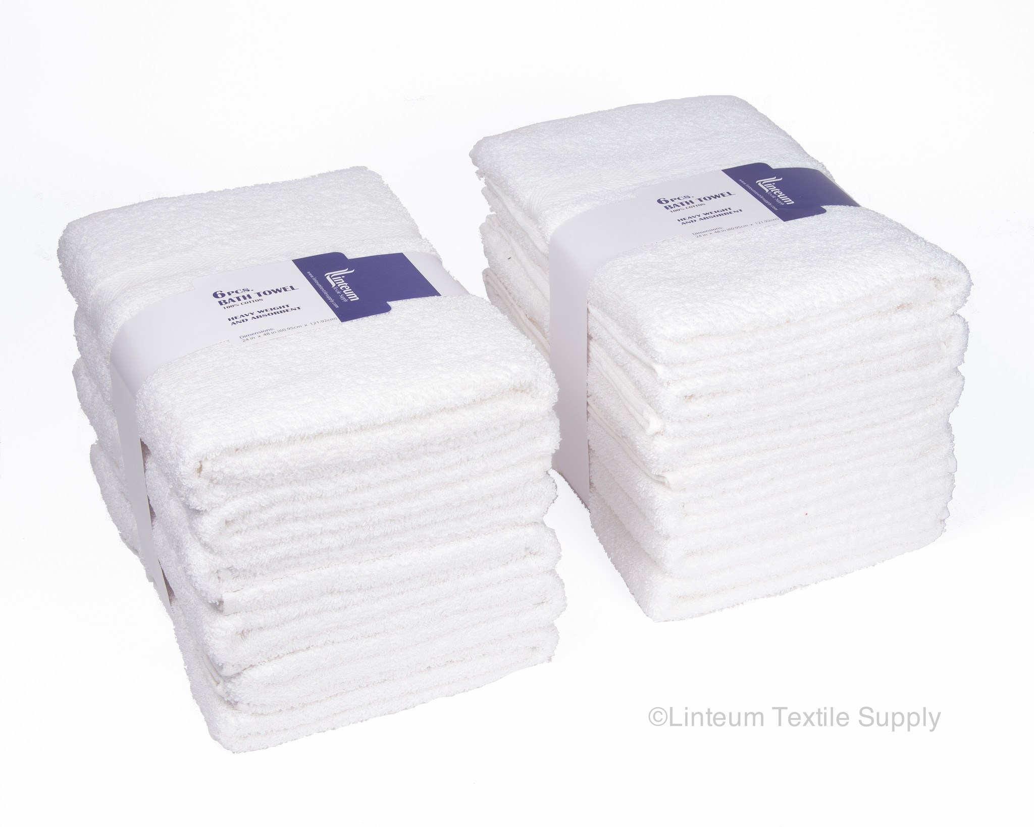 24x48 in. White Bath Towels Hotel-Quality 12-Pack by