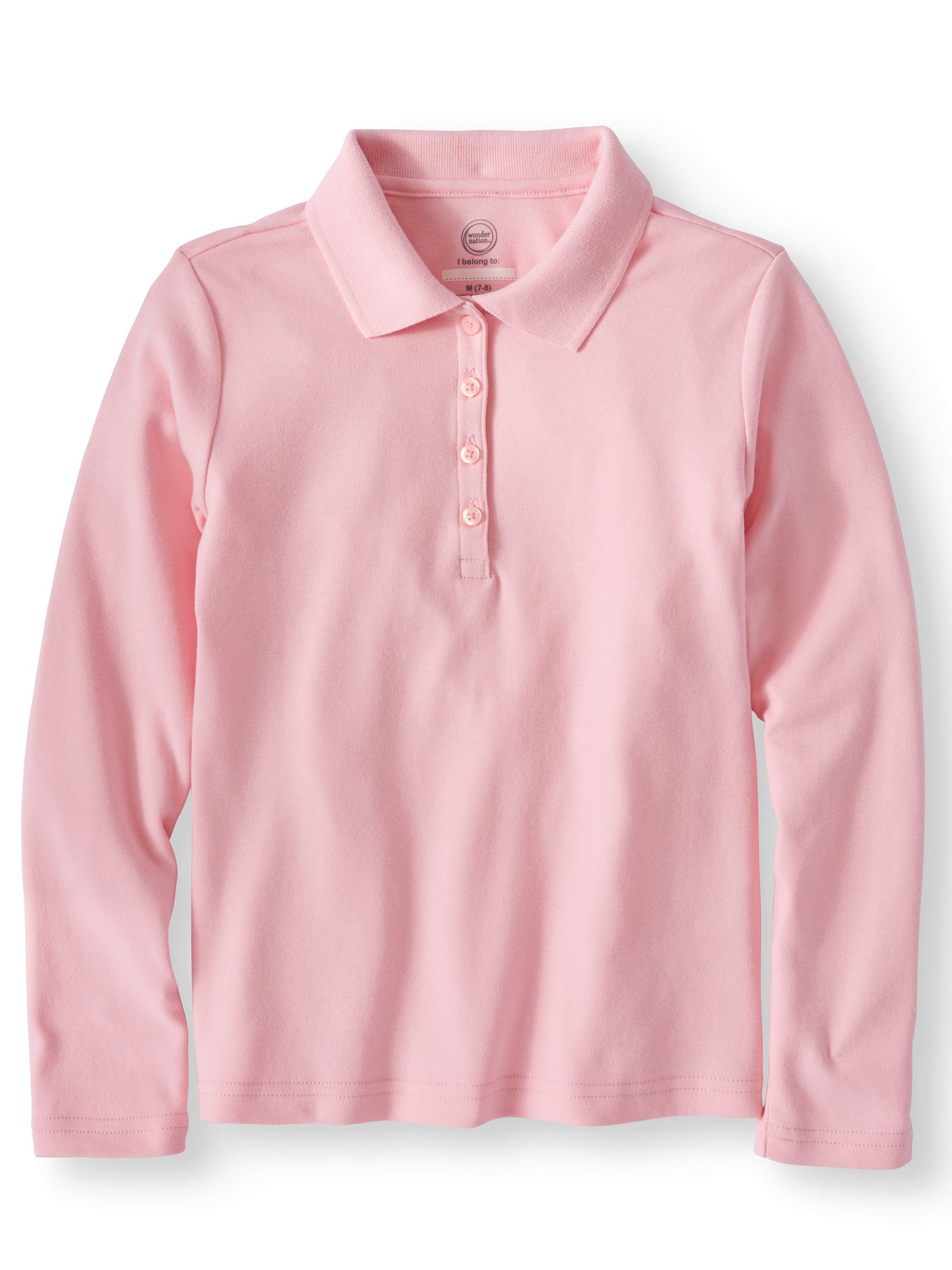 Girls School Uniform Long Sleeve Interlock Polo