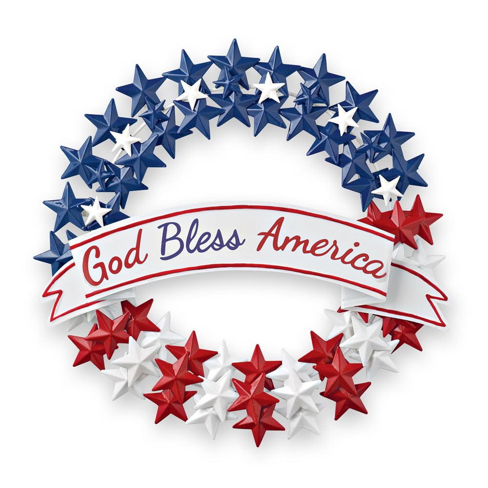 Collections Etc Patriotic 4th Of July Front Door Decoration God Bless America Metal Wreath Walmart Com Walmart Com