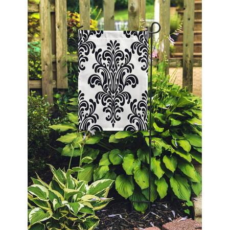 NUDECOR Pattern Damask Floral Silhouette Abstract Antique Black Blossom Brunch Garden Flag Decorative Flag House Banner 12x18 inch - image 2 de 2