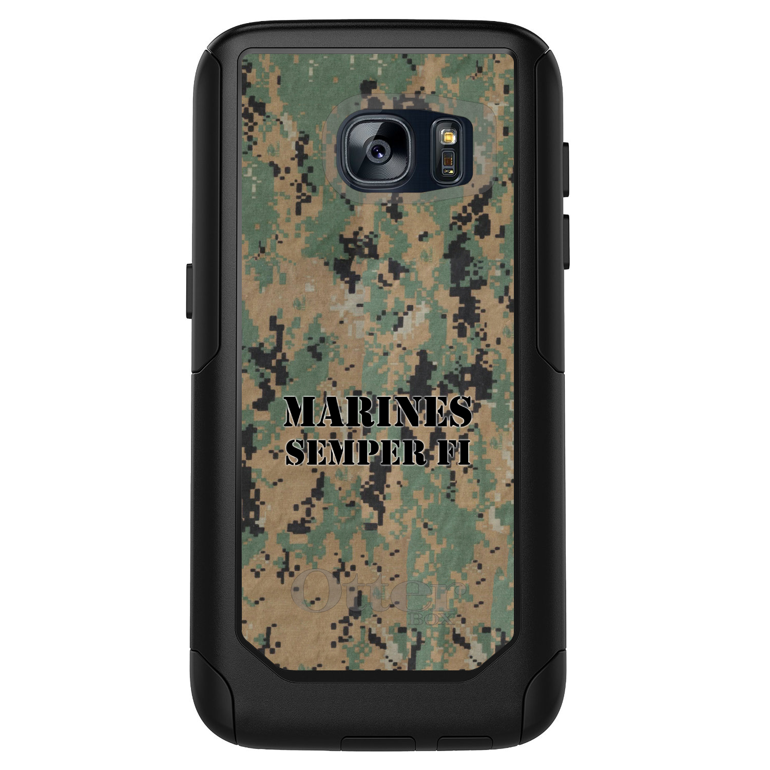 DistinctInk™ Custom Black OtterBox Commuter Series Case for Samsung Galaxy S7 - Camo Marines Semper Fi