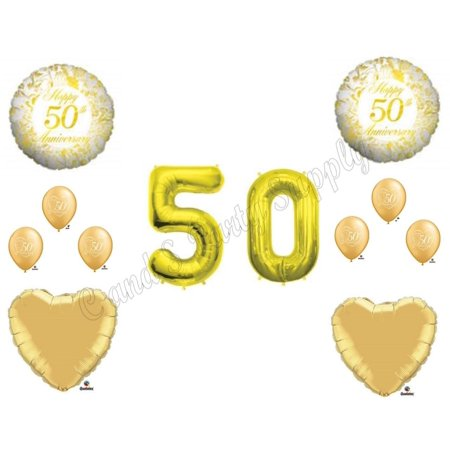XL numbers 50TH GOLDEN ANNIVERSARY Balloons Birthday party Decoration Supplies - Anniversary Supplies