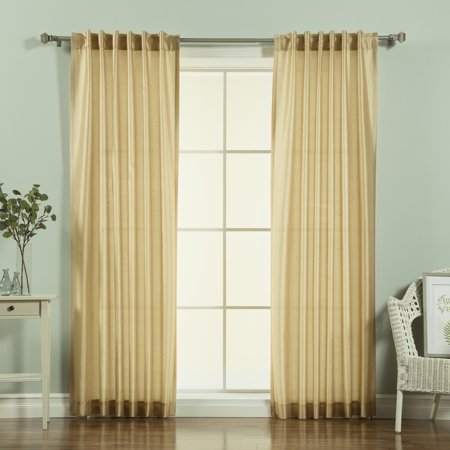 Quality Home Faux Silk Candy Stripe Curtains - Gold - 52