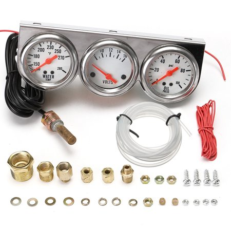 UNIVERSAL 2.27'' OIL PRESSURE WATER TEMP VOLTAGE VOLT TRIPLE GAUGE SET - Install Water Temp Gauge
