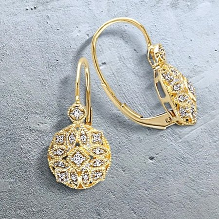 14k Yellow Gold 1/8ct TDW Diamond Vintage Cluster Leverback Earrings (Gold Diamond Cluster Earrings)