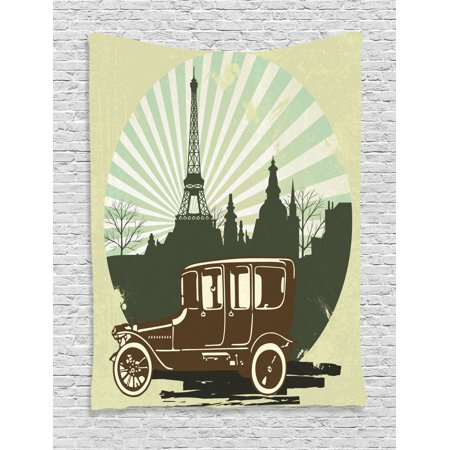 Old Car Decorations Wall Hanging Tapestry, Classic Retro Car With Eiffel  Tower Trees Building Striped Background Illustration, Bedroom Living Room