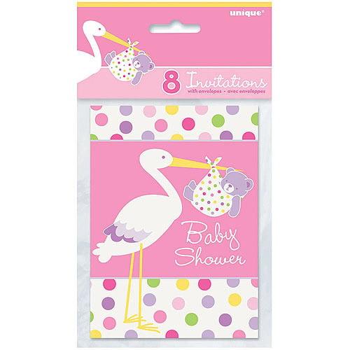 pink stork baby shower invitations, 8pk - walmart, Baby shower invitations