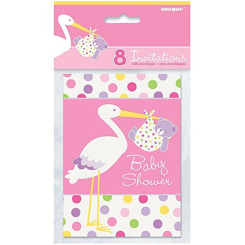Pink Stork Baby Shower Invitations 8ct