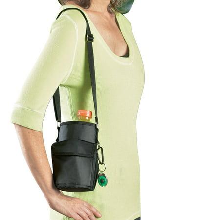 Water Bottle Holder With Shoulder Strap, Black