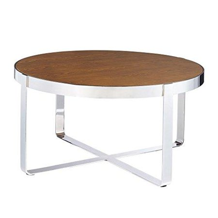 Mid Century Modern Warm Pine Coffee Cocktail Table with Chrome Metal Frame