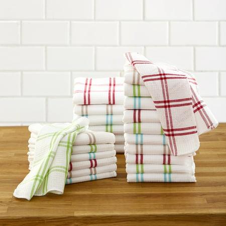 Waffle Weave Dishcloth Set - Dishwashing Rags with Multicolored Stripes - 24-Pc. Stripe Dish Cloth