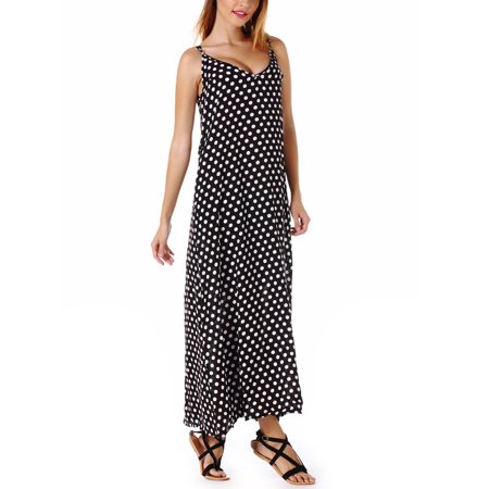 LELINTA Women's Sleeveless V Neck Polka Dot Dress Maternity Wear, with Two Side Pockets Available In Plus Sizes-M-5XL Wear Polka Dots