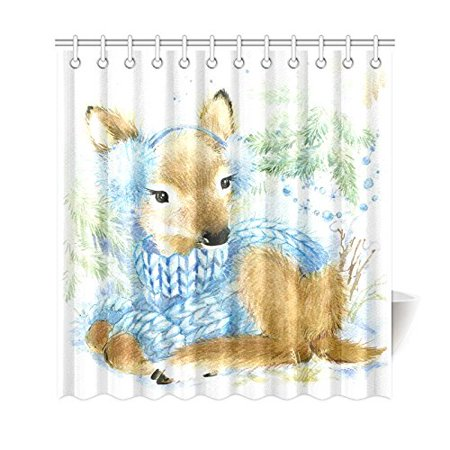 RYLABLUE Cute Animal Shower Curtain, Chiristmas Gift Watercolor Reindeer Polyester Fabric Shower Curtain Bathroom Sets with Hooks 66x72 Inches - image 1 of 3