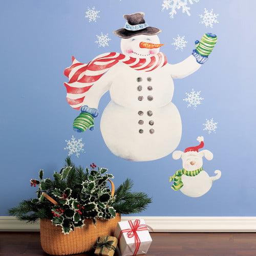 Wallies Snowman Vinyl Holiday Wall Decal (Set of 2)