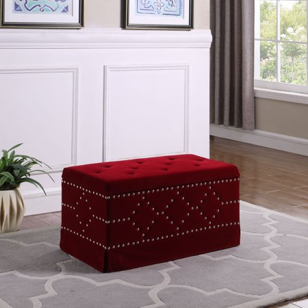 """18.5"""" in Red Velvet Chrome Nailhead Studs Tifted Storage Bench + 2 Seatings"""