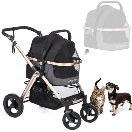 HPZ Pet Rover Prime 3-in-1 Luxury Dog/Cat/Pet Stroller (Travel Carrier + Car Seat +Stroller) with Detach Carrier/Pump-Free Rubber Tires/Aluminum Frame for Medium & Small Pets