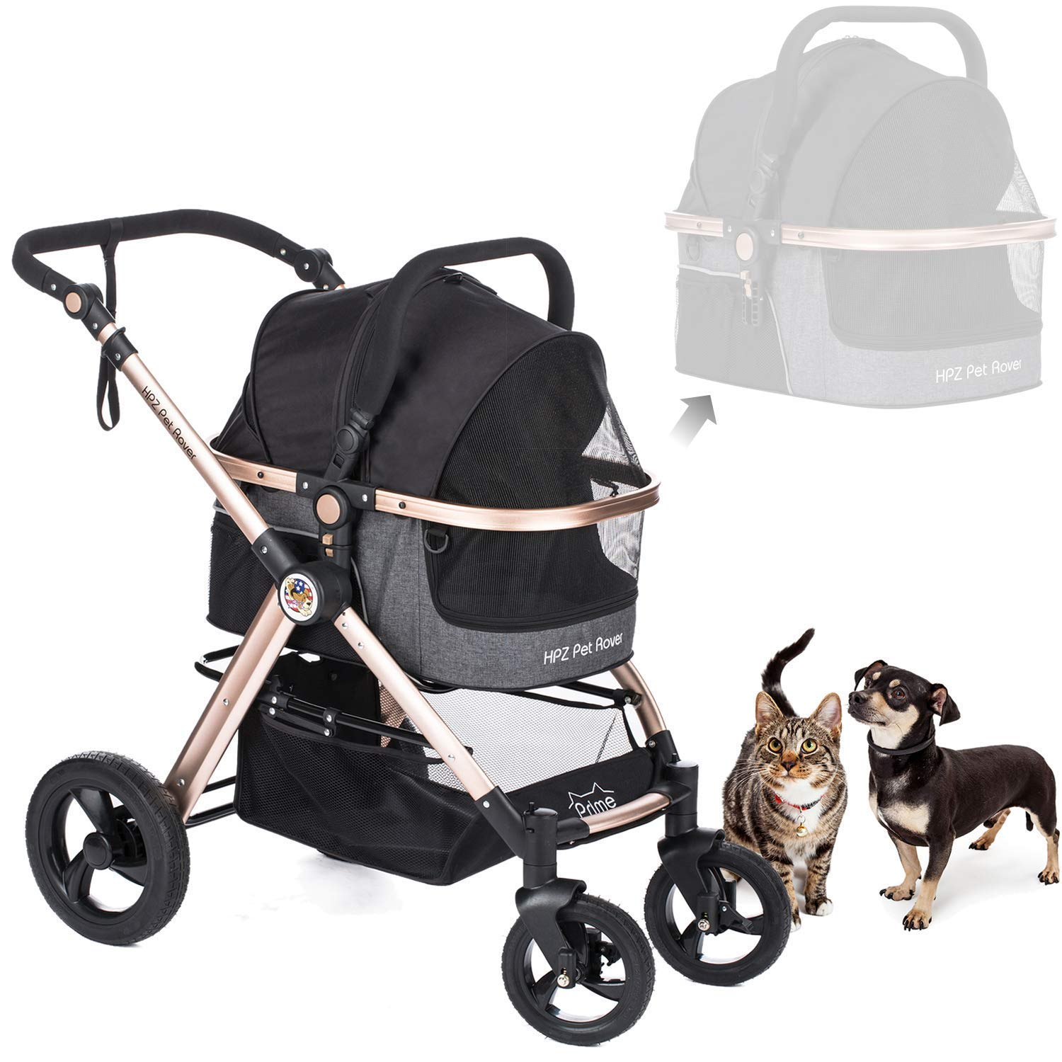 HPZ Pet Rover Prime 3-in-1 Luxury Dog/Cat/Pet Stroller (Travel Carrier + Car Seat +Stroller) with Detach Carrier/Pump-Free Rubber Tires/Aluminum Frame for Medium & Small Pets (Black)