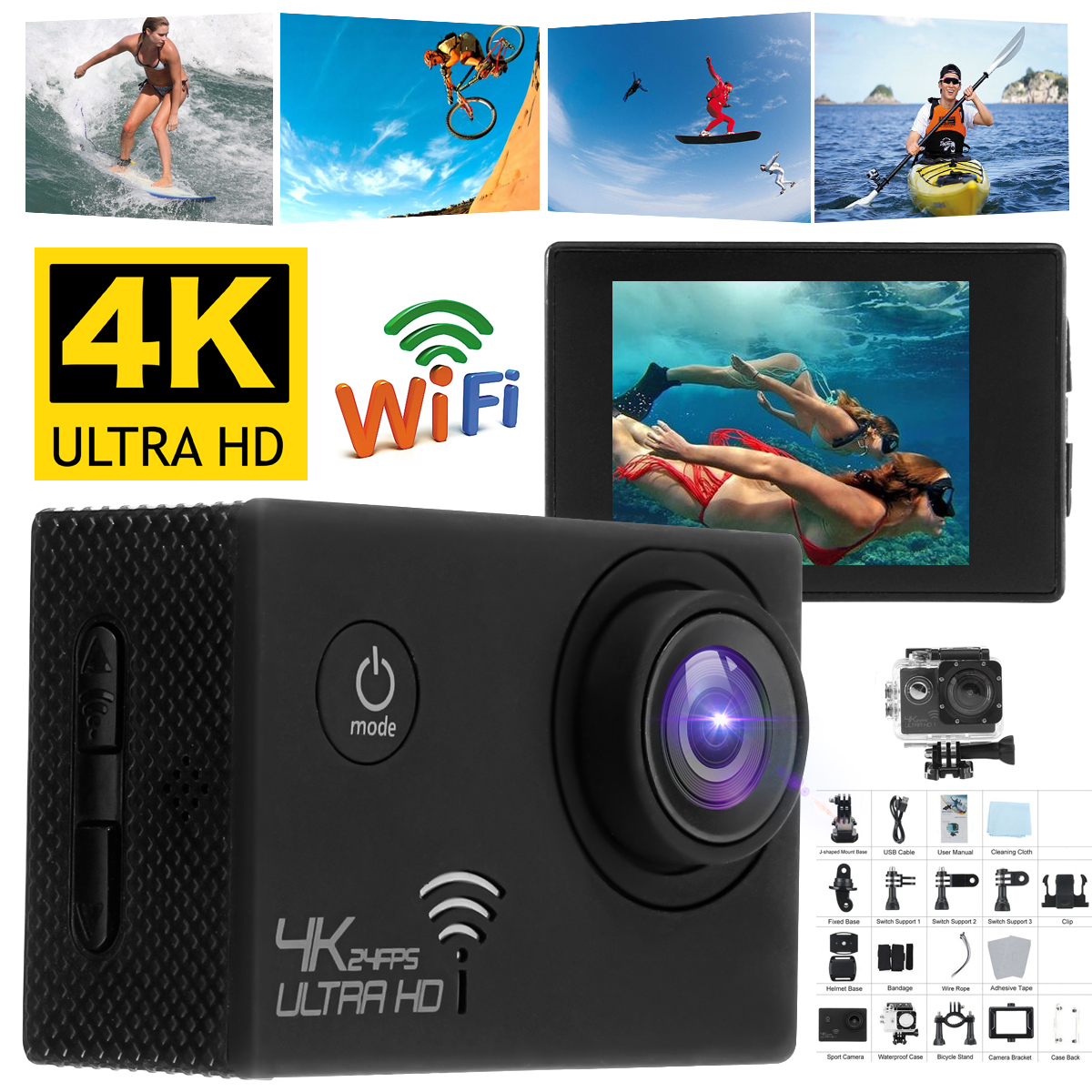 【Pack of 2 Big Clearance】 Winksoar Full HD 4K 16MP 2'' Mini  Wifi Sports Action Camera Waterproof Camcorder 16MP Video Recorder DVR Surfing, Siving, Swimming
