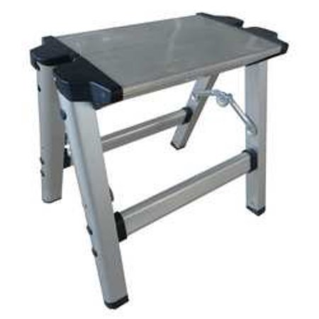 Industrial Grade 12M634 Mini Step Stool, 1 Step, Ht 11-1/2, Silver (Polished Mini Round Step)