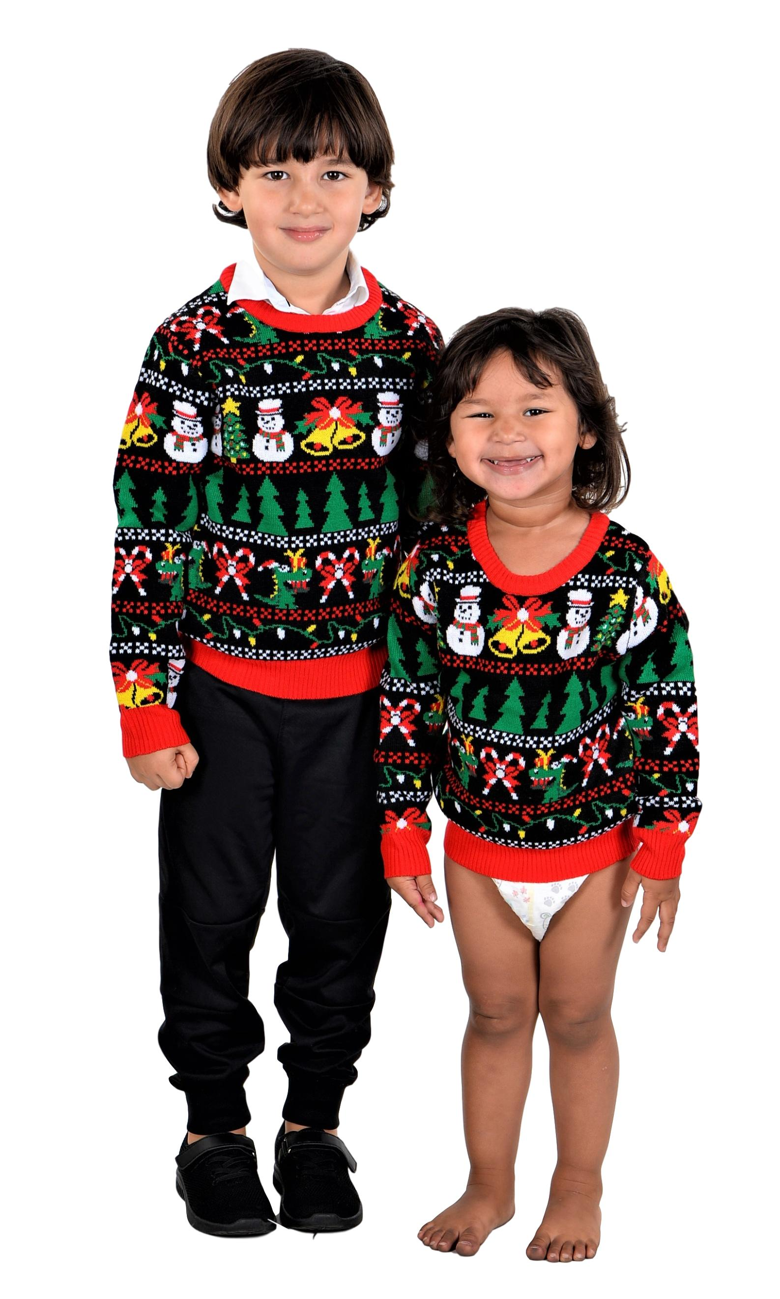 SoCal Look Boys Ugly Christmas Sweater Snowman T-Rex Pullover Black
