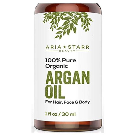 Aria Starr Beauty ORGANIC Argan Oil For Hair, Skin, Face, Nails, Beard & Cuticles - Best 100% Pure Moroccan Anti Aging, Anti Wrinkle Beauty Secret, EcoCert Certified Cold Pressed Moisturizer (Best Organic Beauty Products)