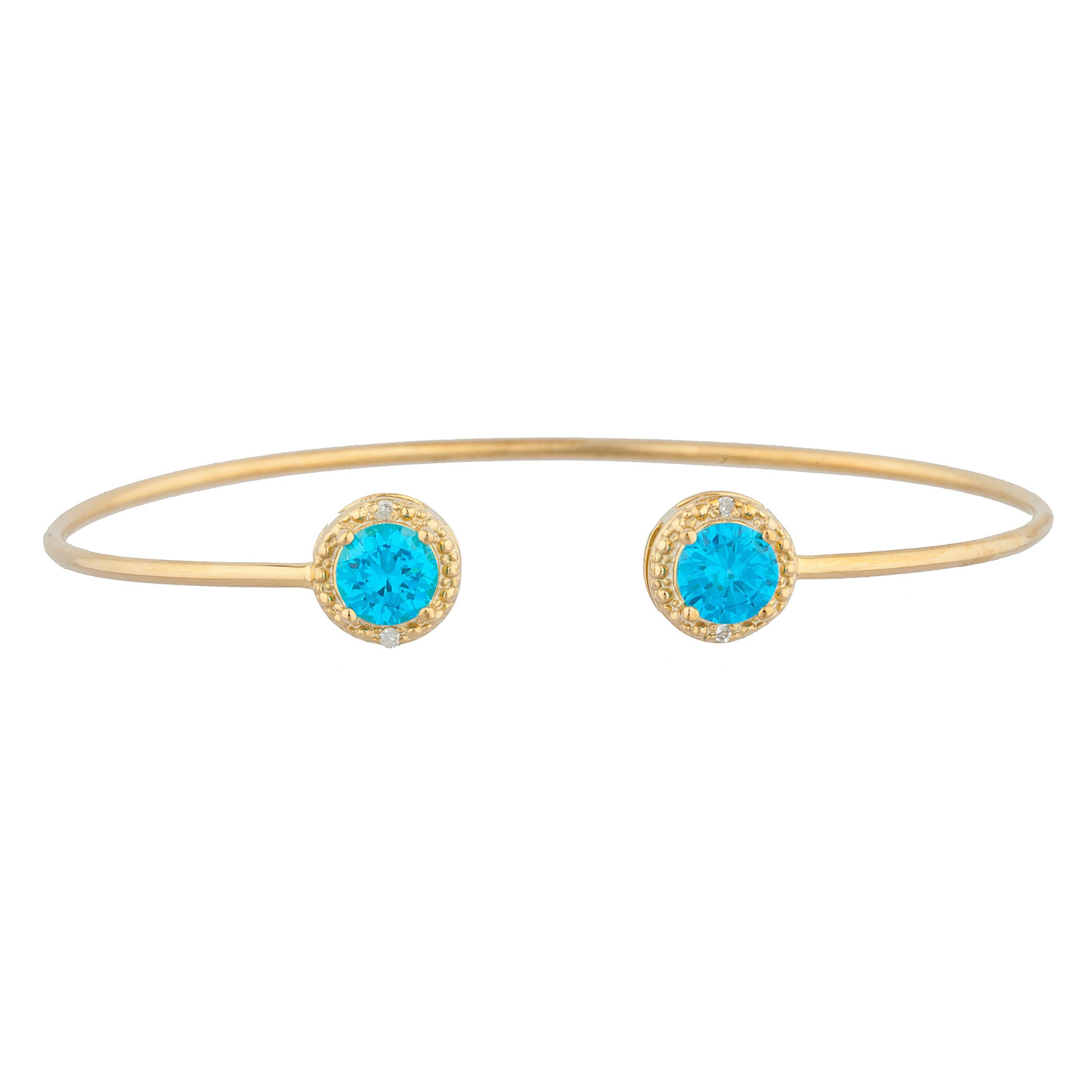 14Kt Yellow Gold Plated Swiss Blue Topaz & Diamond Round Bangle Bracelet by Elizabeth Jewelry Inc