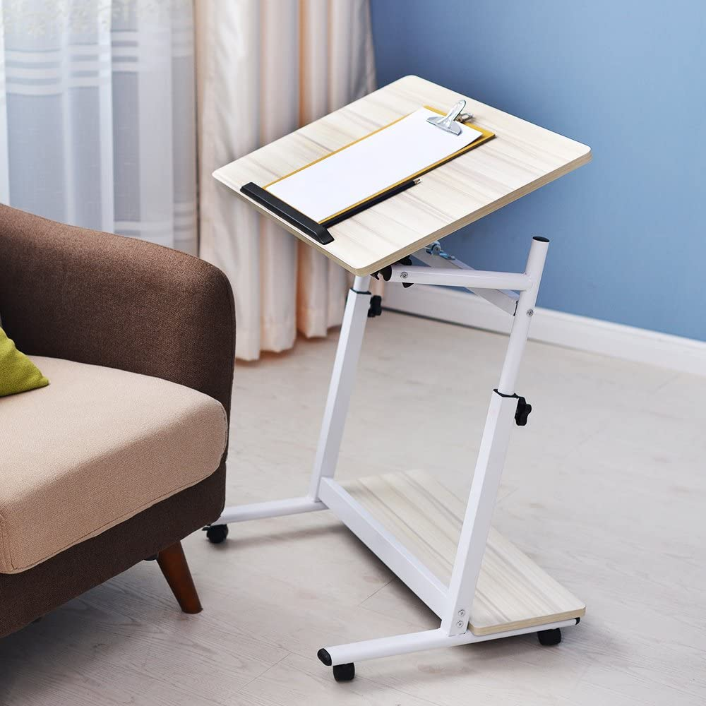 White 05-1-80W-CA Soges Adjustable Sofa Table 31.4 inches Portable Laptop Mobile Desk