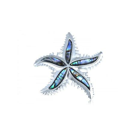 Ninga Star (Silver Tone Abalone Shell Petals Pointy Edged Ninja Star Starfish)