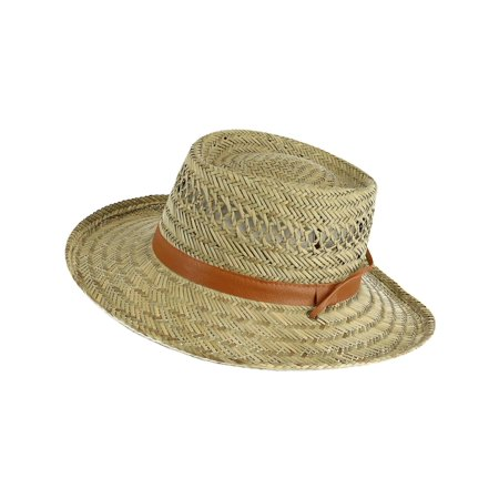 Unisex Rush Straw 3.5 Inch Brim Gambler Hat,  Natural Straw
