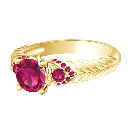 Simulated Ruby Princess Engagement Ring In 14k Yellow Gold Over Sterling Silver, Ring Size-4