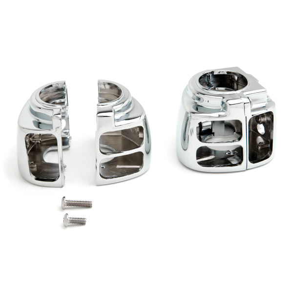 Chrome Handlebar Switch Housing Control Cover Kit For 1996-1999 Harley Davidson Softail - image 3 of 4