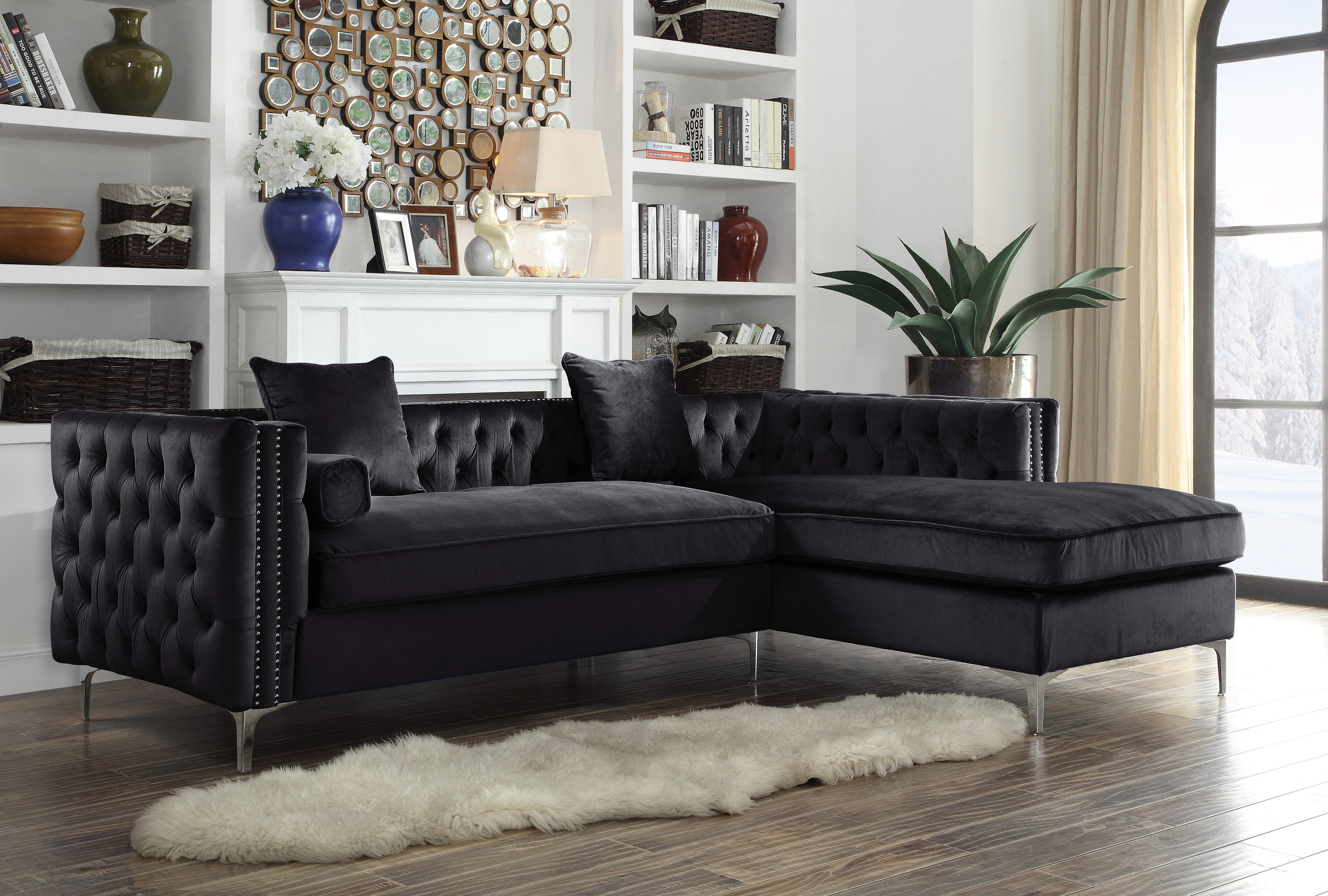 Picture of: Chic Home Monet Velvet Modern Contemporary Button Tufted With Silver Nailhead Trim Silvertone Metal Y Leg Right Facing Sectional Sofa Black Walmart Com Walmart Com