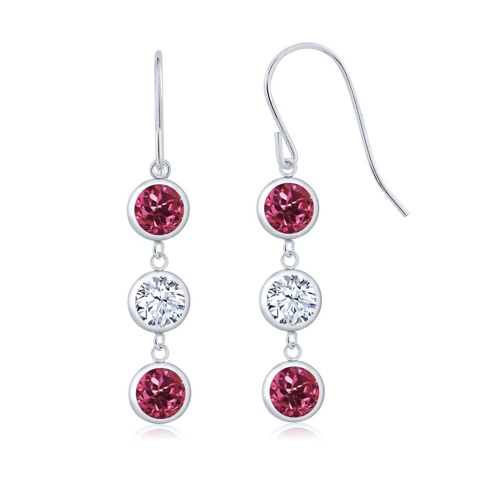 3.00 Ct Round Pink Tourmaline White Topaz 925 Sterling Silver Earrings by