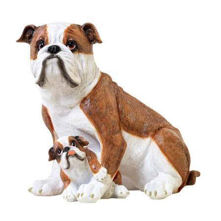(Collections Etc. Dog Breed Family Garden Statue Sculpture, Mama & Puppies, Bulldog)