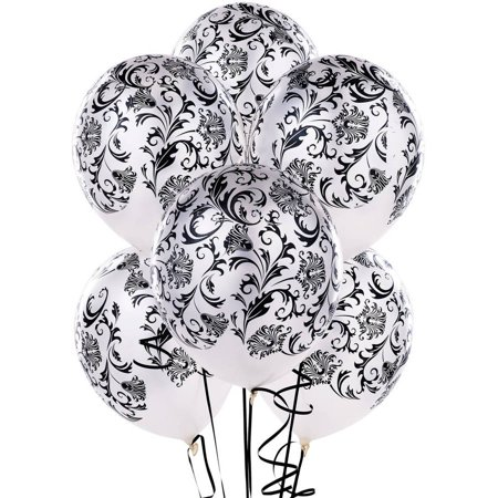Damask Pearl White Latex Balloons (6)