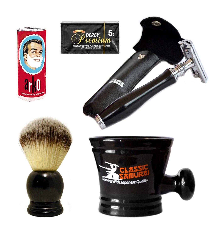 Classic Samurai Double Edge Safety Razor Set, 5 Derby Premium Blades, Synthetic Shaving Brush, Arko Soap & Porcelain Mug