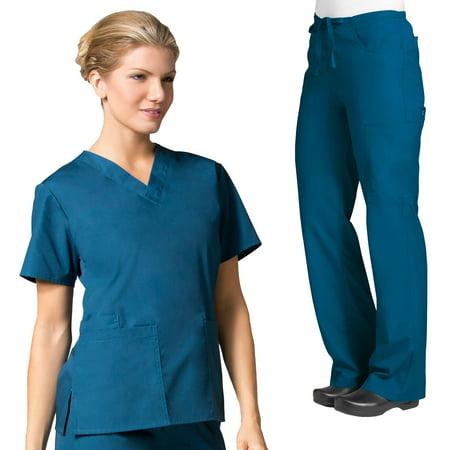 - Maevn CORE Women's Classic V-Neck Scrub Top & CORE Classic Flare Pant Set [XXS - 5XL, FREE SHIPPING]