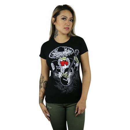 ShirtBANC Brand Mariachi Skeleton Womens Shirt Day of the Dead Tee - Mariachi Clothing