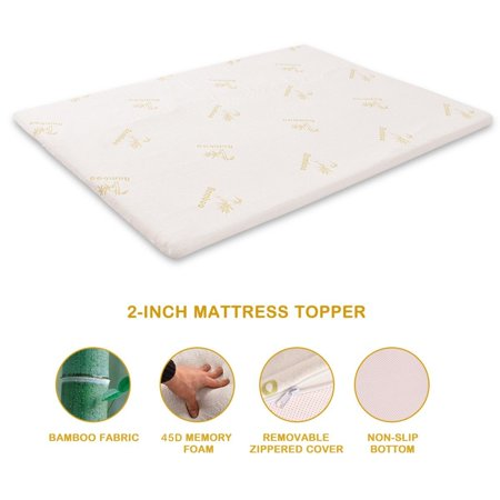Sale 2'' Queen Size Memory Foam Bamboo Cover Mattress Pad Bed