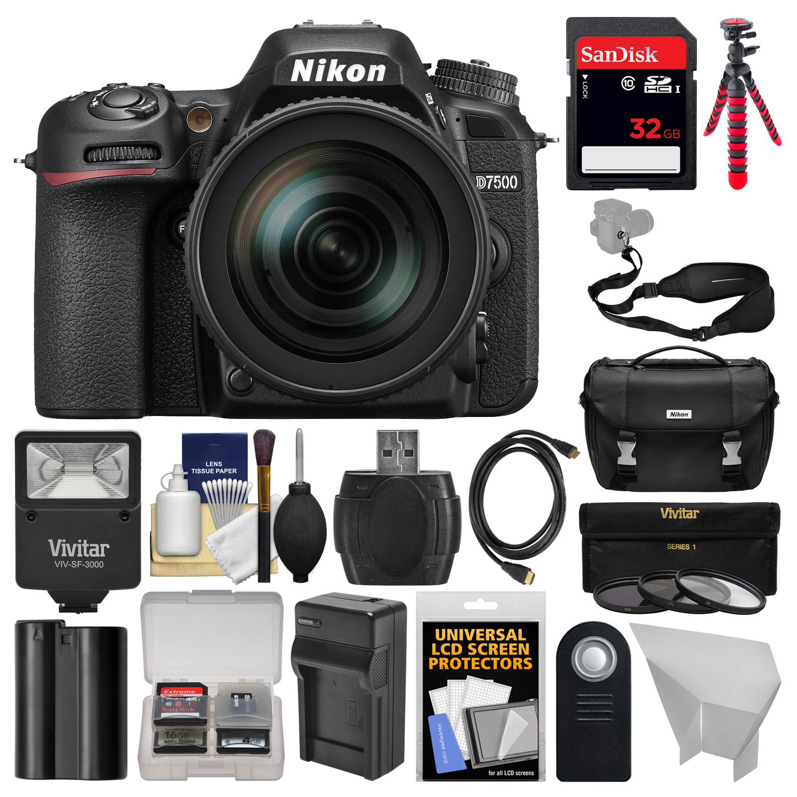Nikon D7500 Wi-Fi 4K Digital SLR Camera with 18-300mm VR DX Lens, Case & 32GB Card + Flash + Battery & Charger + Tripod + Strap + 3 Filters Kit