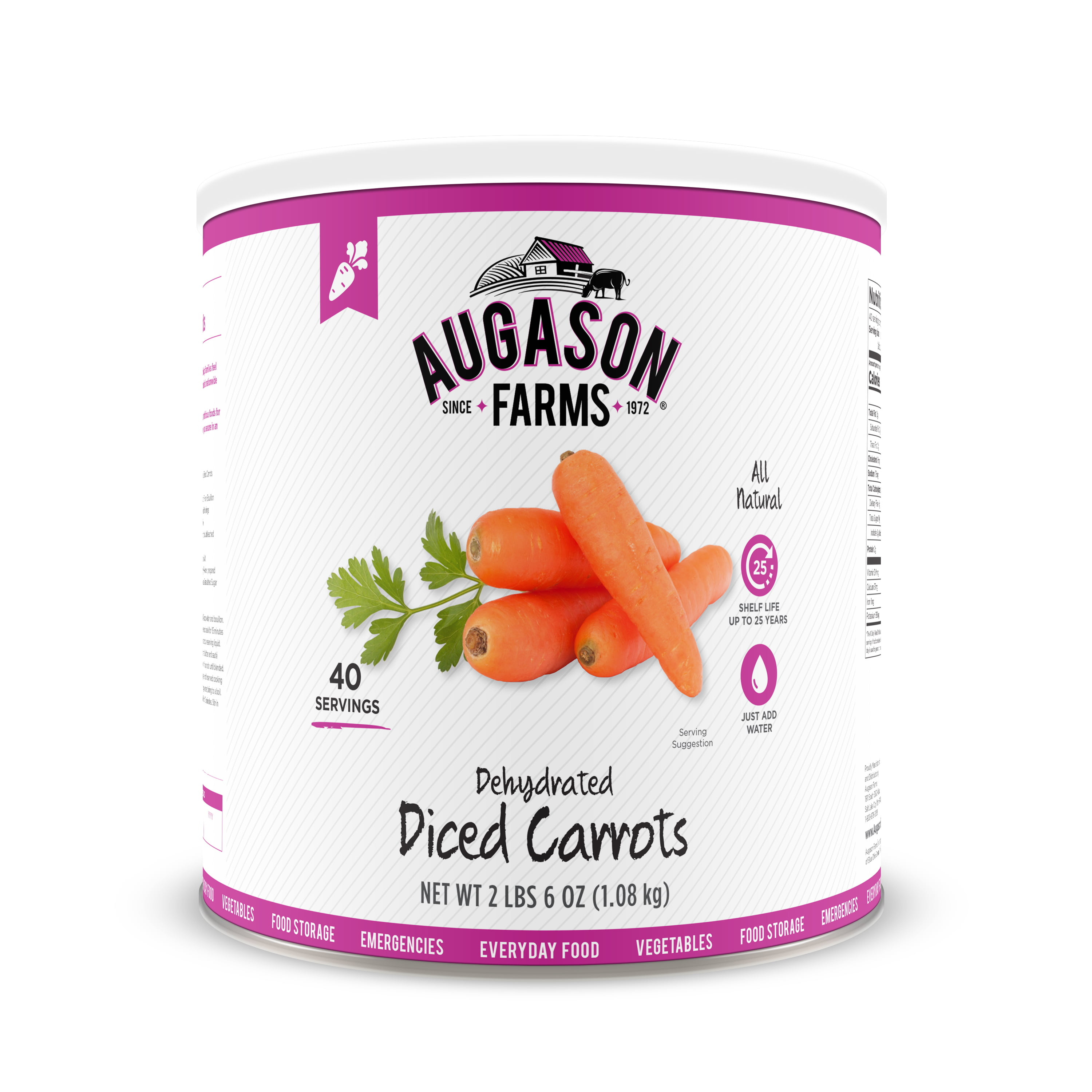 Augason Farms Dehydrated Diced Carrots 2 lbs 6 oz No. 10 Can by Blue Chip Group