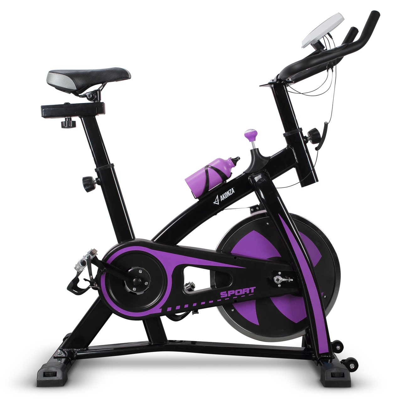 AKONZA Adjustable Stationary Indoor Cycling Bike,with Heart Pulse Sensors & LCD Monitor, Max User Weight:330lbs, Purple