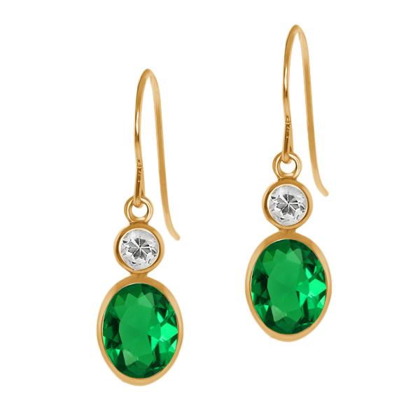 1.48 Ct Oval Green Nano Emerald White Topaz 14K Yellow Gold Earrings