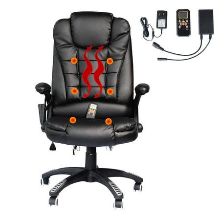 High-Back Executive Ergonomic PU Leather Heated Vibrating Massage Office Chair - Black