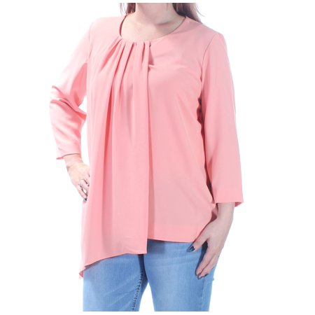 ALFANI Womens Coral Pleated Long Sleeve Scoop Neck Top  Size: 16